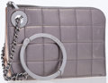 Luxury Accessories:Bags, Chanel Metallic Silver Quilted Lambskin Leather Clutch Bag withHandcuff Handle . ...
