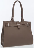 Luxury Accessories:Accessories, Rossi & Caruso Taupe Leather Tote Bag with Silver Hardware ....
