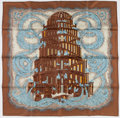 "Luxury Accessories:Accessories, Hermes 90cm Brown & Blue ""Rivieres de Babel,"" by Annie FavreSilk Scarf. ..."