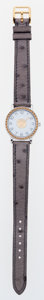 Luxury Accessories:Accessories, Hermes 26mm Gris Tourterelle Ostrich Sellier Watch with Gold &Silver Hardware. ...