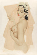 Pin-up and Glamour Art, ALBERTO VARGAS (American, 1896-1982). Vargas Girl in WeddingVeil. Watercolor and pencil on board. 27.5 x 18.5 in. (sigh...
