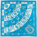 "Luxury Accessories:Accessories, Hermes 90cm Blue & White ""Cliquetis,"" by Julia Abadie Silk Scarf. ..."