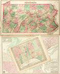 Books:Maps & Atlases, Trio of Hand-Colored Pennsylvania Maps. [N.p.], Ca. 1867. Includes two maps of Philadelphia and one of the state of Pennsylv...