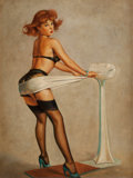 Pin-up and Glamour Art, After GIL ELVGREN (American, 1914-1980). Weighty Problems.Oil on panel. 16 x 11.75 in.. Not signed. ...