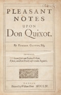 Books:Literature Pre-1900, Edmund Gayton. Pleasant Notes Upon Don Quixot. London:William Hunt, 1654. First edition. Quarto. ¹1,*4,**2,B-2O4. [...