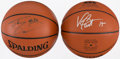 Basketball Collectibles:Balls, Vince Carter and Shaquille O'Neal Signed Basketballs Lot of 2....