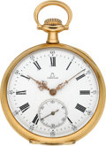 Timepieces:Pocket (post 1900), Omega 18k Gold Pocket Watch. ...