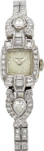 Timepieces:Wristwatch, Hamilton Platinum & Diamond Lady's Wristwatch. ...
