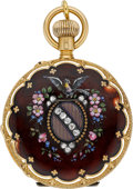 Timepieces:Pocket (pre 1900) , A. Golay-Leresche & Fils Gold & Enamel Demi-Hunter, circa1890. ...