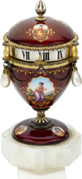 Timepieces:Clocks, Austrian Very Fine Mini Annular Dial Clock Enamel On Silver, circa 1880. ...
