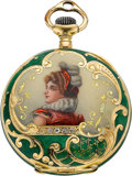 Timepieces:Pocket (post 1900), Tiffany & Co. Fine Miniature Gold & Enamel Pendant Watch,circa 1905. ...