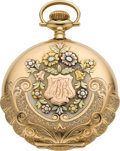 Timepieces:Pocket (post 1900), Elgin 14k Multicolor Gold 16 Size Hunters Case, circa 1910. ...