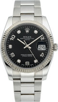 Timepieces:Wristwatch, Rolex Ref. 115234 Steel Oyster Perpetual Date With Diamond Dial,circa 2010. ...