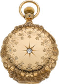Timepieces:Pocket (pre 1900) , Illinois 14k Gold Box Hinge With Diamond, circa 1885. ...