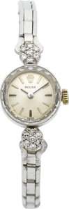 Timepieces:Wristwatch, Rolex Lady's White Gold & Diamond Wristwatch, circa 1950's. ...