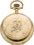 Timepieces:Pocket (pre 1900) , Elgin 16 Size 14k Gold Hunters Case, circa 1895. ...