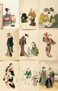 Miscellaneous:Postcards, [Japanese Postcards]. Group of 9 with Hand-Coloring. Shimbi Shoin,ca. 1930's. Measure 5.5 x 3.5 inches. Some with staining ...