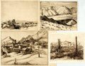 Books:Prints & Leaves, [Unknown Artist]. Group of Four Original Black and White EtchingsDepicting Western Landscapes. Two dated 1887 on verso. Var...