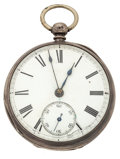 Timepieces:Pocket (pre 1900) , Swiss Sterling Silver Key Lever Fusee Pocket Watch. ...