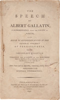 Books:Americana & American History, Albert Gallatin. The Speech of Albert Gallatin, a Representativefrom The County of Fayette, in the House of Repre...