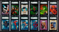 Non-Sport Cards:Sets, 1979 - 2004 Marvel/DC/Dark Horse Comic Heroes Complete Card SetsQuartet (4) - Two are on the SGC Set Registry. ...