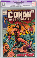 Bronze Age (1970-1979):Adventure, Conan the Barbarian #1 (Marvel, 1970) CGC Apparent VF+ Slight (C-1) 8.5 White pages....