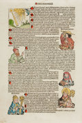"Books:Prints & Leaves, Hartmann Schedel. Single Hand-Colored Leaf from the NurembergChronicle. 1493. Measures 12"" x 17.5"". Previously rolled. Very..."