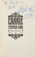 Books:Horror & Supernatural, Stephen King. Carrie. Garden City: Doubleday & Company,Inc., 1974. First edition. Presentation copy, inscribed by...