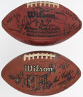 Football Collectibles:Balls, 1980's & '90's Cleveland Browns Team Signed Game Used Football - Lot of 2. ...