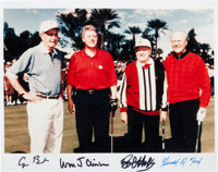 Circa 2000 Presidents George Bush, Bill Clinton & Gerald Ford Signed Photograph with Bob Hope