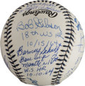 Autographs:Baseballs, 1996 Mickey Mantle Theme Baseball Signed by Nine Players....