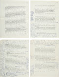 Books:Mystery & Detective Fiction, John Le Carré [Pseudonym for David Cornwell]. Four Typescript Pageswith His Manuscript Corrections. [N.p., n.d., ca. 1968]....
