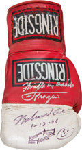 Boxing Collectibles:Autographs, 1988 Muhammad Ali & Joe Frazier Dual Signed Boxing Glove withSketch....