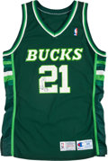 Basketball Collectibles:Uniforms, 1992-93 Alvin Robertson Game Worn, Signed Milwaukee BucksJersey....