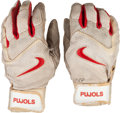 Baseball Collectibles:Others, 2000's Albert Pujols Game Worn Batting Gloves & Single SignedBaseball. ...