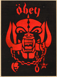 SHEPARD FAIREY (American, b. 1970) Obey, 2002 Silkscreen on wood 24 x 18 inches (61.0 x 45.7 cm)<