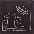 Post-War & Contemporary:Pop, KEITH HARING (American, 1958-1990). Flying Saucer with NuclearReactor (Radiation), 1982. Chalk on Saks Fifth Avenue pap...