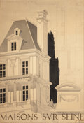 Paintings, P. JOUGLEUX (French, 20th Century). Maisons Sur Seine, probable Paris museum architectural exhibition poster, circa 1950...