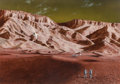 Mainstream Illustration, RON MILLER (American, b. 1947). Walking on Mars. Acrylic andgouache on board. 12.5 x 18 in. (sight). Not signed. No...