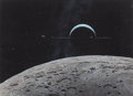 Mainstream Illustration, RON MILLER (American, b. 1947). Viewing Saturn from theMoon. Gouache and tempera on board. 13.5 x 18.625 in. (sight).S...