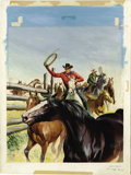 Original Comic Art:Covers, Sam Savitt - Western Roundup #20 Cover Original Art (Dell, 1957).The thrill of riding herd on a pack of wild mustangs is ca...
