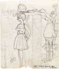 "Original Comic Art:Sketches, Bill Ward Calendar Illustration Preliminary Sketch Original Art (1965). ""A little off the top"" is the result of this lovely ..."