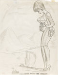 "Original Comic Art:Sketches, Bill Ward Calendar Preliminary Sketch Original Art (1965). Ward's women have special ""problems"", as seen in this humorous ca..."