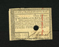 Colonial Notes:Massachusetts, Massachusetts May 5, 1780 $3 Choice About New, HC. A faint centerfold is found on this hole cancel example that has been st...