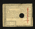 Colonial Notes:Massachusetts, Massachusetts May 5, 1780 $3 Very Fine, PC. This note has beenpunched cancel....