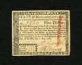 Colonial Notes:Massachusetts, Massachusetts May 5, 1780 $5 Uncancelled Choice New. A lovelyexample of this uncancelled Massachusetts note which is scarce...