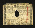 Colonial Notes:Massachusetts, Massachusetts May 5, 1780 $8 Extremely Fine, COC. The top edgeshows worn corners....