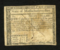 Colonial Notes:Massachusetts, Massachusetts May 5, 1780 $8 Very Fine. This is a pen cancelledexample....