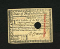 Colonial Notes:Massachusetts, Massachusetts May 5, 1780 $20 About New, HC. Hole cancelled with asmall tear in the cancel, but having excellent color and ...