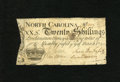 Colonial Notes:North Carolina, North Carolina March 9, 1754 20s Very Fine. There is a small stainand some minor repairs at the edges but this an almost en...